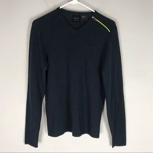 A X Armani Exchange neon zip crew sweater navy